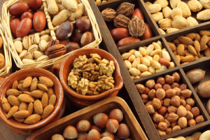 A wide variety of nuts in assorted trays